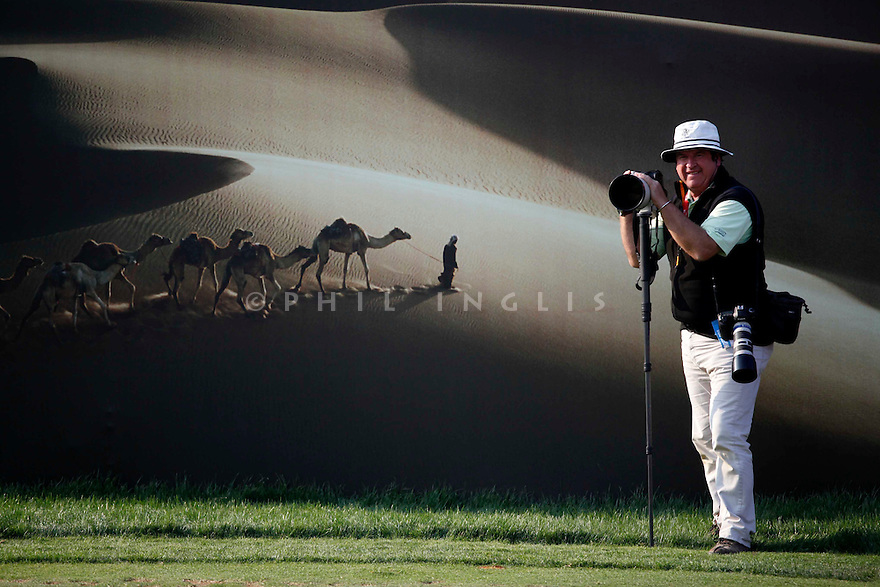 Phil Inglis photographer poses for the camera on the 15th tee during the third round of the Abu Dhabi HSBC Golf Championship played at Abu Dhabi Golf Club on 28th January 2012 in Abu Dhabi, UAE. (Picture Credit / Phil Inglis)