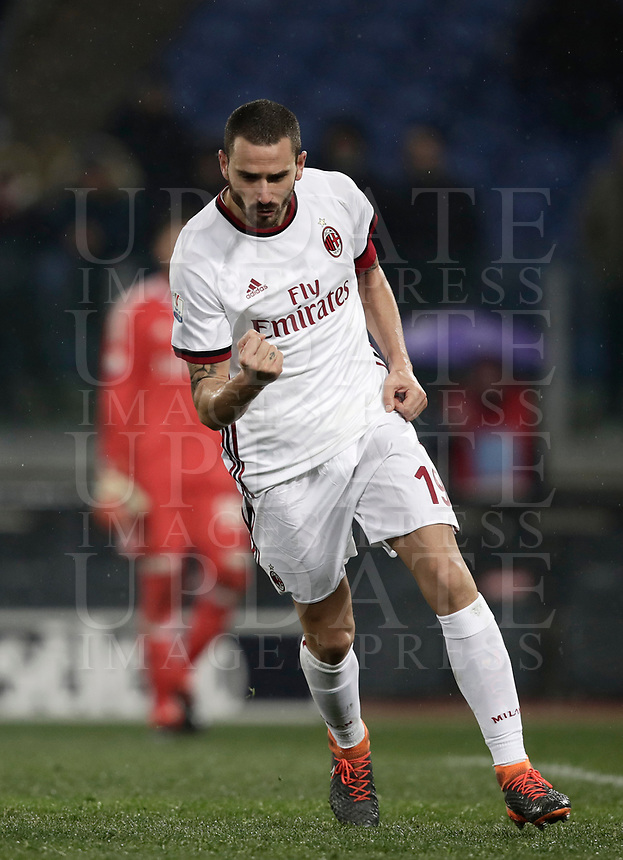 Football Soccer: Tim Cup semi-final second Leg, SS Lazio vs AC Milan, Stadio Olimpico, Rome, Italy, February 28, 2018.<br /> Milan's captain Leonardo Bonucci celebrates after kicking a penalty during the shootout of the Tim Cup semi-final football match between SS Lazio vs AC Milan, at Rome's Olympic stadium, February 28, 2018.<br /> <br /> UPDATE IMAGES PRESS/Isabella Bonotto