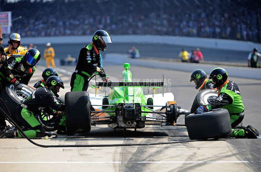 May 30, 2010; Indianapolis, IN, USA; IndyCar Series driver Townsend Bell pits during the Indianapolis 500 at the Indianapolis Motor Speedway. Mandatory Credit: Mark J. Rebilas-