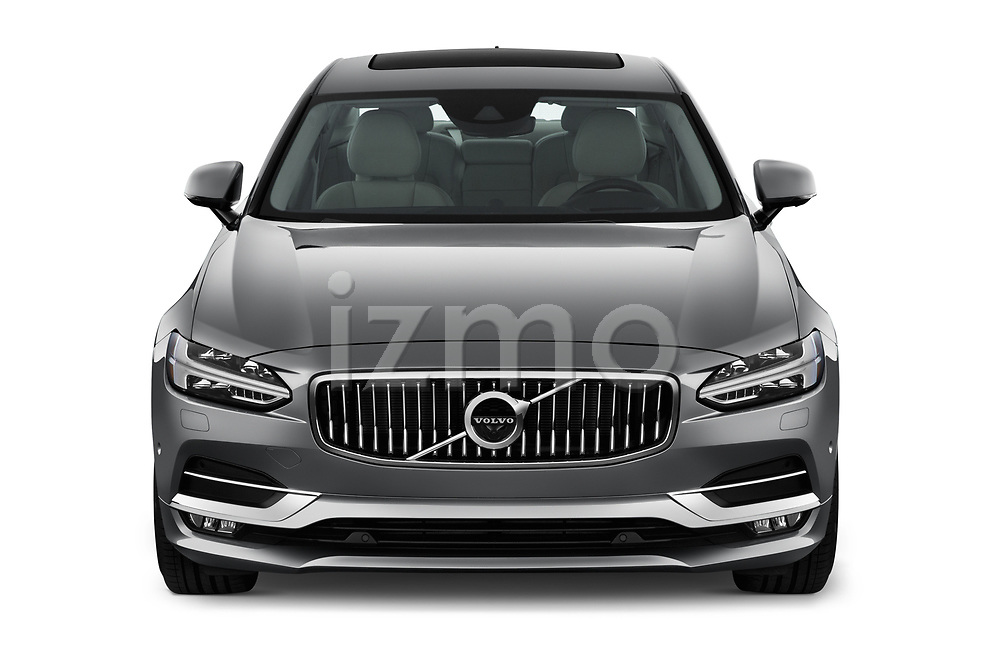 Car photography straight front view of a 2019 Volvo S90 T6 Inscription 4 Door Sedan