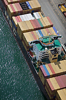 aerial photograph of containership MSC Serena docked at the Port of Montreal, Quebec, Canada