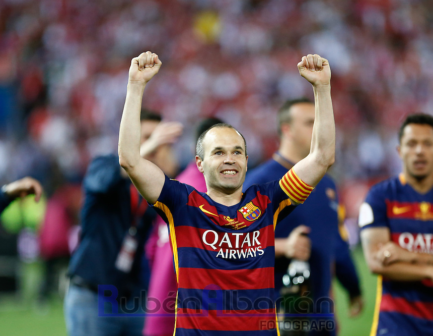 FC Barcelona´s  midfielder Andres Iniesta celebrating afer winning the final of Copa del Rey