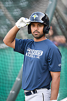 Infielder Giovanny Alfonzo (6) of the Columbia Fireflies takes batting practice before a game against the Greenville Drive on Wednesday, April 18, 2018, at Fluor Field at the West End in Greenville, South Carolina. Columbia won 8-4. (Tom Priddy/Four Seam Images)