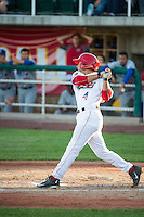 David Fletcher (4) of the Orem Owlz at bat against the Ogden Raptors in Pioneer League action at Home of the Owlz on June 20, 2015 in Provo, Utah.The Raptors defeated the Owlz 9-6.  (Stephen Smith/Four Seam Images)