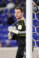 Notre Dame Fighting Irish goalkeeper Philip Tuttle (1). The Louisville Cardinals defeated the Notre Dame Fighting Irish 1-0 during the semi-finals of the Big East Men's Soccer Championship at Red Bull Arena in Harrison, NJ, on November 12, 2010.