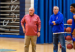 WATERBURY, CT. 05 December 2018-120518 - The braintrust of the Crosby High boys basketball team, Head coach Nick Augeri, and assistant coach Larry Devito look on during pre season practice before the start of the 2018-2019 season at Crosby High School in Waterbury on Wednesday. Bill Shettle Republican-American