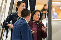 United States Senator Mazie Hirono (Democrat of Hawaii) speaks with staffers in the Senate Subway under the United States Capitol Building in Washington, DC on Friday, December 1, 2017. <br /> Credit: Alex Edelman / CNP /MediaPunch