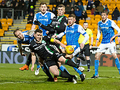 16th March 2018, McDiarmid Park, Perth, Scotland; Scottish Premier League football, St Johnstone versus Hibernian; Steven Anderson of St Johnstone gets grip of Paul Hanlon of Hibernian during corner kick