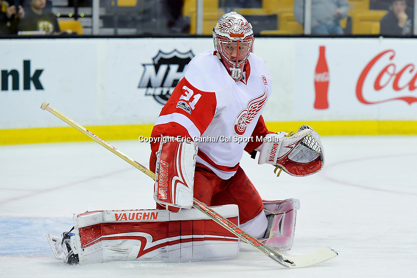 Wednesday, March 8, 2017: Detroit Red Wings goalie Jared Coreau (31) warms up prior to the National Hockey League game between the Detroit Red Wings and the Boston Bruins held at TD Garden, in Boston, Mass.  Boston defeats Detroit 6-1 in regulation time. Eric Canha/CSM