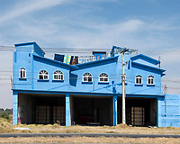 Arquitectura Libre, blue house on  the outskirts of Toluca comming from Nevado de Toluca, Estado de Mexico, Mexico
