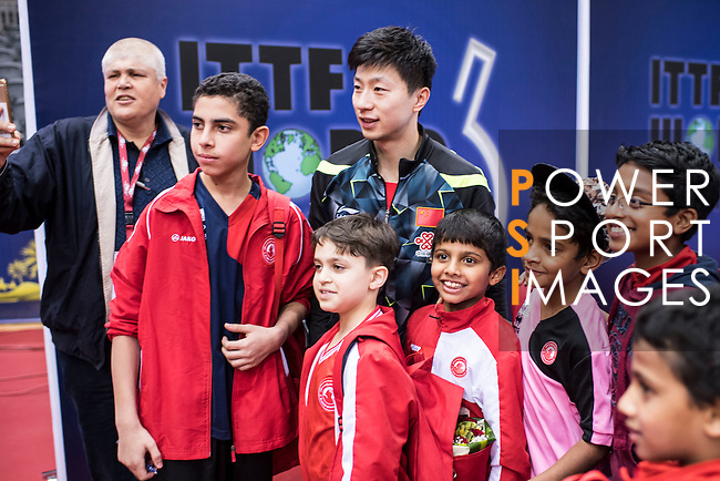 Long Ma of China celebrating with his fans after winning the Men's Singles Final match during the Seamaster Qatar 2016 ITTF World Tour Grand Finals at the Ali Bin Hamad Al Attiya Arena on 11 December 2016, in Doha, Qatar. Photo by Victor Fraile / Power Sport Images
