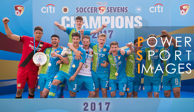 Bayer Leverkusen (in blue) are the winners of the Main Tournament Plate Final match, while Wellington Phoenix (in grey) are the runners-up, during the HKFC Citi Soccer Sevens 2017 on 28 May 2017 at the Hong Kong Football Club, Hong Kong, China. Photo by Marcio Rodrigo Machado / Power Sport Images