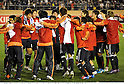 Japan team group (JPN), MARCH 14, 2012 - Football / Soccer : Japan players celebrate their qualification for London Olympics after winning the 2012 London Olympics Asian Qualifiers Final Round Group C match between U-23 Japan 2-0 U-23 Bahrain at National Stadium in Tokyo, Japan. (Photo by Takamoto Tokuhara/AFLO)