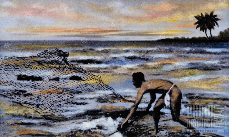 Hawaiian fisherman throwing net, handtinted archive image