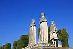 Columbus, King Ferdando, Queen Isabel statues garden of Alcazar, Cordoba, Spain, Alcázar de los Reyes Cristianos