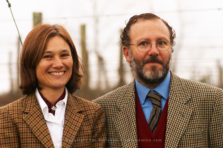 Juan Luis Bouza, and his wife Elisa Trabal de Bouza owners in front of one of his Tannat vineyards. Bodega Bouza Winery, Canelones, Montevideo, Uruguay, South America