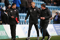 Barnsley Manager, Daniel Stendel (right) chats with his two Assistant Head Coaches, Dale Tonge and Christopher Stern during Gillingham vs Barnsley, Sky Bet EFL League 1 Football at The Medway Priestfield Stadium on 9th February 2019