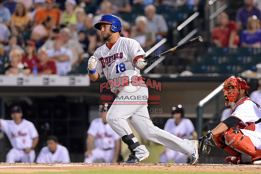 Buffalo Bisons first baseman Mauro Gomez (18) during a game against the Rochester Red Wings on August 30, 2013 at Frontier Field in Rochester, New York.  Buffalo defeated Rochester 6-3.  (Mike Janes/Four Seam Images)
