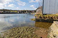 Pictured: The slipway where the Mini car with Kiara Moore entered river Teifi from in Cardigan, west Wales, UK. Tuesday 20 March 2018<br /> Re: The funeral of two year old Kiara Moore, who died after being recovered from a silver Mini car found in river Teifi in Cardigan will be held today (Tue 27 Mar 2018) at Parc Gwyn Crematorium, Narberth, west Wales.<br /> Kiara was taken at the University Hospital of Wales in Cardiff after being rescued but was pronounced dead.<br /> It is believed the car she was in, rolled down a slipway while her mother got out momentarily to get cash out of the family business premises.<br /> Her parents Jet Moore and Kim Rowlands have expressed their grief on social media.