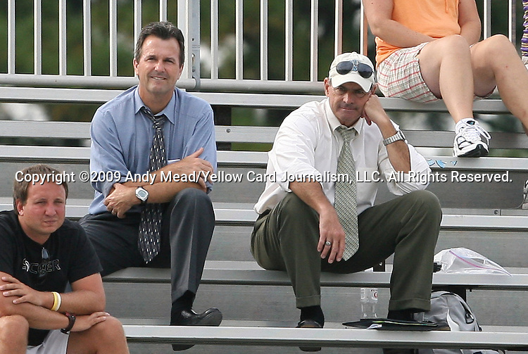 20 September 2009: UNC head coach Anson Dorrance (left) and assistant coach Bill Palladino (right) watch the game. The Duke University Blue Devils played the Louisiana State University Tigers to a 2-2 tie after overtime at Koskinen Stadium in Durham, North Carolina in an NCAA Division I Women's college soccer game.