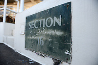 Section 16 sign at Tinker Field, a former spring training site for the Cincinnati Reds, Brooklyn Dodgers, Washington Senators, and Minnesota Twins as well as a minor league stadium, that is possibly being demolished with some portions moved due to renovations at the Citrus Bowl.  February 19, 2014 at Tinker Field in Orlando, Florida.  (Mike Janes/Four Seam Images)