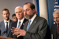 United States Secretary of Health and Human Services (HHS) Alex Azar speaks during a news briefing on coronavirus at the White House in Washington, DC on Sunday, March 15, 2020.  At left is US Vice President Mike Pence and at right is Director of the National Institute of Allergy and Infectious Diseases at the National Institutes of Health Dr. Anthony Fauci.<br /> Credit: Chris Kleponis / Pool via CNP/AdMedia