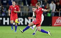 ORLANDO, FL - NOVEMBER 15: Tim Ream #13 of the United States defending during a game between Canada and USMNT at Exploria Stadium on November 15, 2019 in Orlando, Florida.