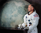 """Houston, TX - File photo -- Alternate portrait of Edwin E. """"Buzz"""" Aldrin,Jr., Lunar Module (LM) Pilot of Apollo 11 Lunar Landing Mission taken on May 1, 1969.  Apollo 11 was Aldrin's second and final trip to space.  He previously piloted the Gemini 12 mission on November 11, 1966.  On that mission Aldrin completed 5 1/2 hours of extravehicular activity (EVA).  Apollo 11 launched on July 16, 1969.  Aldrin became the second human to set foot on the moon on July 20, 1969..Credit: NASA via CNP"""