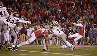 NWA Democrat-Gazette/BEN GOFF @NWABENGOFF<br /> Beniquez Brown (42), Mississippi State linebacker, blocks a field goal attempt by Arkansas kicker Cole Hedlund, in the fourth quarter on Saturday Nov. 21, 2015 during the game in Razorback Stadium in Fayetteville.