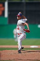 Auburn Doubledays relief pitcher Angel Guillen (44) delivers a pitch during a game against the Batavia Muckdogs on September 1, 2018 at Dwyer Stadium in Batavia, New York.  Auburn defeated Batavia 10-5.  (Mike Janes/Four Seam Images)