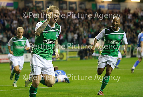 Hibs v St Johnstone...28.09.11   SPL Week.Garry O'Connor celebrates his penalty.Picture by Graeme Hart..Copyright Perthshire Picture Agency.Tel: 01738 623350  Mobile: 07990 594431