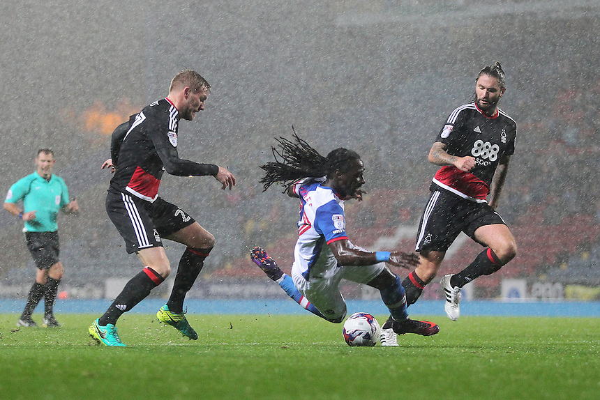 Blackburn Rovers Marvin Emnes is tackled by Nottingham Forest's Damien Perquis<br /> <br /> Photographer Mick Walker/CameraSport<br /> <br /> The EFL Sky Bet Championship - Blackburn Rovers v Nottingham Forest - Tuesday 18th October 2016 - Ewood Park - Blackburn<br /> <br /> World Copyright &copy; 2016 CameraSport. All rights reserved. 43 Linden Ave. Countesthorpe. Leicester. England. LE8 5PG - Tel: +44 (0) 116 277 4147 - admin@camerasport.com - www.camerasport.com