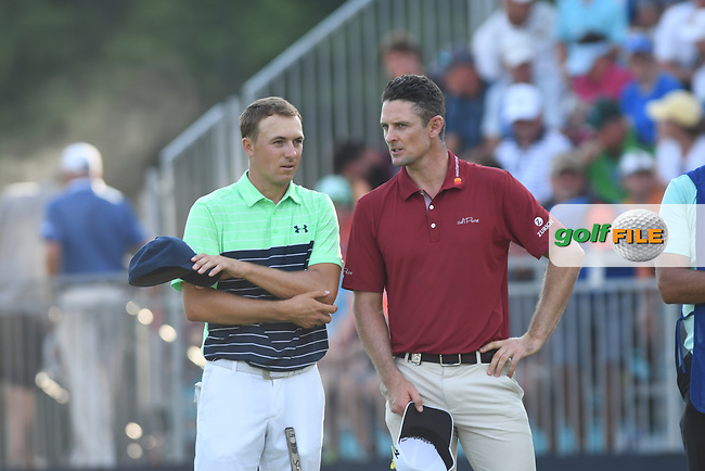 Jordan Spieth(USA) and Justin Rose (ENG) talk on the 18th green moments after their round of the 100th PGA Championship at Bellerive Country Club, St. Louis, Missouri.<br /> Picture Tom Russo / Golffile.ie<br /> <br /> All photo usage must carry mandatory copyright credit (© Golffile   Tom Russo)
