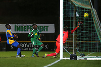 Anthony McDonald of Haringey scores the first goal for his team during Romford vs Haringey Borough, Bostik League Division 1 North Football at Ship Lane on 8th November 2017