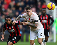 Callum Wilson of AFC Bournemouth left tangles with Victor Lindelöf of Manchester United during AFC Bournemouth vs Manchester United, Premier League Football at the Vitality Stadium on 3rd November 2018