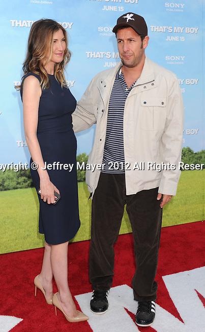 WESTWOOD, CA - JUNE 04: Adam Sandler and Jackie Sandler arrive at the Los Angeles premiere of 'That's My Boy' held at Regency Village Theatre Westwood on June 4, 2012 in Westwood, California.
