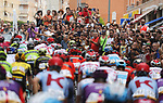 Huge crowds out as the peloton pass by during Stage 3 of La Vuelta 2019 running 188km from Ibi. Ciudad del Juguete to Alicante, Spain. 26th August 2019.<br /> Picture: Luis Angel Gomez/Photogomezsport | Cyclefile<br /> <br /> All photos usage must carry mandatory copyright credit (© Cyclefile | Luis Angel Gomez/Photogomezsport)
