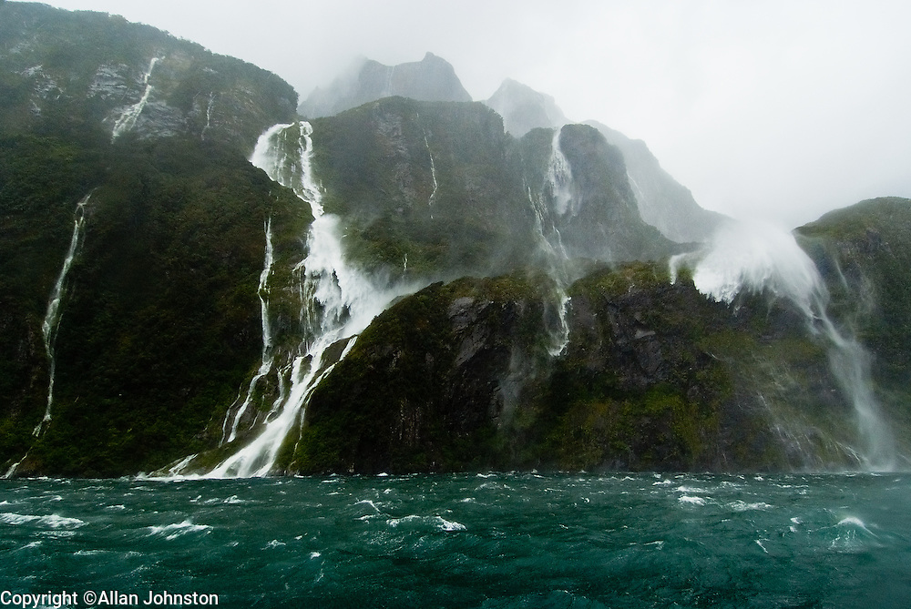 Milford Sound Waterfalls Bad Weather 120 Knots Of Wind
