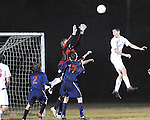 High school soccer action between St. Martin's Episcopal School and Northlake Christian played on 11/23/09 at the CYSA soccer facility in Covington, LA. St. Martin's defeated Northlake 1-0 on a goal by Brian Flint in the first half of play.