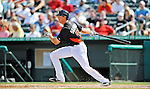 13 March 2012: Miami Marlins infielder Jeff Dominguez in action during a Spring Training game against the Atlanta Braves at Roger Dean Stadium in Jupiter, Florida. The two teams battled to a 2-2 tie playing 10 innings of Grapefruit League action. Mandatory Credit: Ed Wolfstein Photo