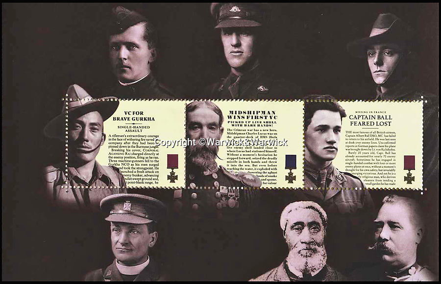 BNPS.co.uk (01202 558833)<br /> Pic: Warwick&Warwick/BNPS<br /> <br /> The stamps missing the Queen's head.<br /> <br /> Orf with her head...<br /> <br /> A limited edition booklet of commemorative stamps has been valued at £20,000 - because a printing mistake cut off the Queen's head in them. <br /> <br /> The set of six special stamps were produced in 2006 to mark the 150th anniversary of the Victoria Cross.<br /> <br /> Each stamp carried a picture and the story of six individual VC winners and a bronze image of the Queen but it has emerged a handful of the booklets were printed without Her Majesty's head on.