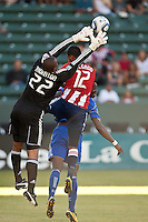 Chivas USA goalie Zach Thornton (22) goes high to catch the ball during the first half of the game between Chivas USA and the Kansas City Wizards at the Home Depot Center in Carson, CA, on September 19, 2010. Final score Chivas USA 0, Kansas City Wizards 2.