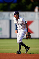 Charlotte Stone Crabs second baseman Tristan Gray (9) during a game against the Dunedin Blue Jays on June 5, 2018 at Charlotte Sports Park in Port Charlotte, Florida.  Dunedin defeated Charlotte 9-5.  (Mike Janes/Four Seam Images)