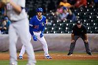 Oklahoma City Dodgers center fielder Trayce Thompson (21) leads off first base during a game against the Colorado Springs Sky Sox on June 2, 2017 at Chickasaw Bricktown Ballpark in Oklahoma City, Oklahoma.  Colorado Springs defeated Oklahoma City 1-0 in ten innings.  (Mike Janes/Four Seam Images)
