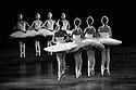 London, UK. 31.05.2016. English National Ballet presents SWAN LAKE in the round at the Royal Albert Hall. Picture shows: The cygnets: Crystal Costa, Anjuli Hudson, Rina Kanehara, Shiori Kase, Katja Khaniukova, Desiree Ballantyne, Jung ah Choi, Adela Ramirez. Photograph © Jane Hobson.
