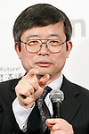 Hisataka Kobayashi, Chief Scientist and Senior Investigator of the Molecular Imaging Program of the National Cancer Institution, answers questions the press during the first day of the New Economy Summit (NEST 2017) on April 6, 2017, Tokyo, Japan. The annual summit brings together global entrepreneurs and innovators for a two-day event in Tokyo. (Photo by Rodrigo Reyes Marin/AFLO)