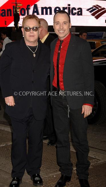 "WWW.ACEPIXS.COM . . . . .  ....NEW YORK, APRIL 25, 2006....David Furnish and Sir Elton John at the Broadway opening of ""Lestat"".....Please byline: AJ Sokalner - ACEPIXS.COM.... *** ***..Ace Pictures, Inc:  ..(212) 243-8787 or (646) 769 0430..e-mail: picturedesk@acepixs.com..web: http://www.acepixs.com"