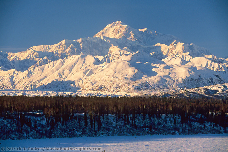 North America's highest mountain, south view of summit, Chulitna river, winter, Denali National Park, Alaska