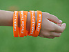 McKenna Jacobs, 11, of Port Washington wears bracelets in support of Mary Ruchalski during a non-league varsity girls lacrosse game between Friends Academy and host Holy Trinity High School on Thursday, April 20, 2017. Ruchalski is a child from Rockville Centre who is battling cancer.