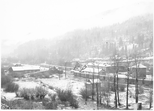 A partial west-facing overview of the RGS Rico yards with light snow.<br /> RGS  Rico, CO  Taken by Richardson, Robert W. - 10/13/1945